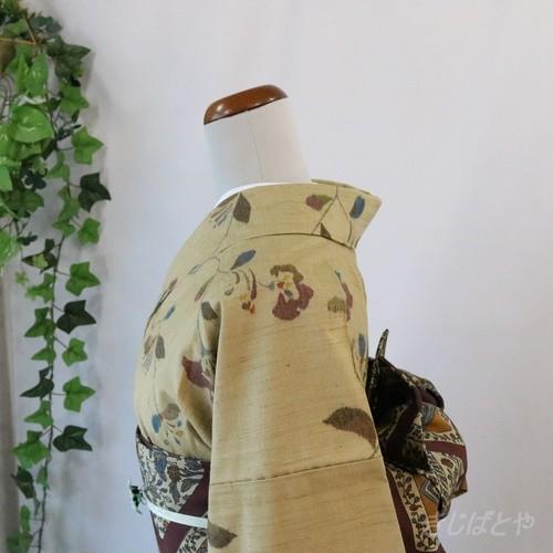 正絹紬 玉子鼠に花の総柄小紋 単衣