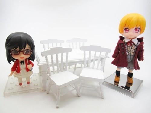 ミニチュア ダイニングテーブル(長方形+椅子) 【ミニチュア家具・ドールハウス】