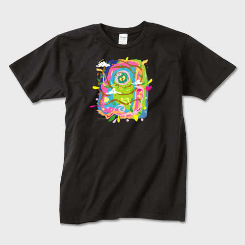 生き物と枝と雲たち  かわいいかっこいいアートTシャツ 黒  ※トナー熱転写印刷
