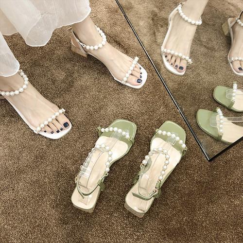 サンダル イミテーションパール アンクルストラップ チャンキーヒール 4.5cm スクエアトゥ 韓国ファッション レディース 痛くない かわいい 靴 歩きやすい