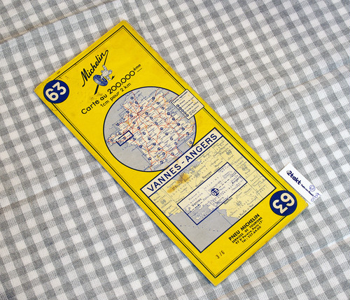 【Vintage/Used品】1965 MICHELIN MAP No.63 フランス北西部 VANNES-ANGERS /0109