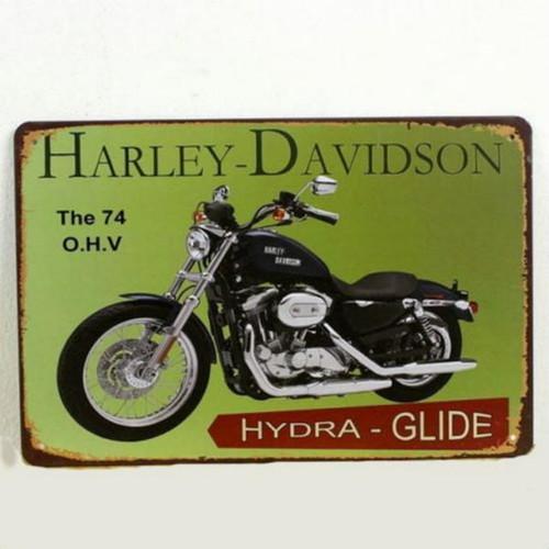 【ブリキ看板】ハーレーダビッドソン・ハイドラグライド黒 小型版[B24124]