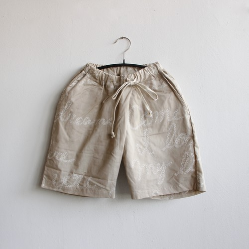 《UNIONINI 2021SS》embroidery short pants / beige
