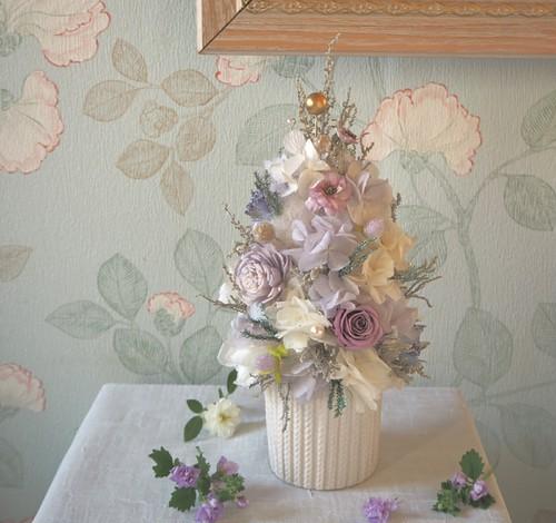 New☆Arbre de  Noël<Lavender Blanc> *クリスマスツリーアレンジメント*プリザーブドフラワー* 花