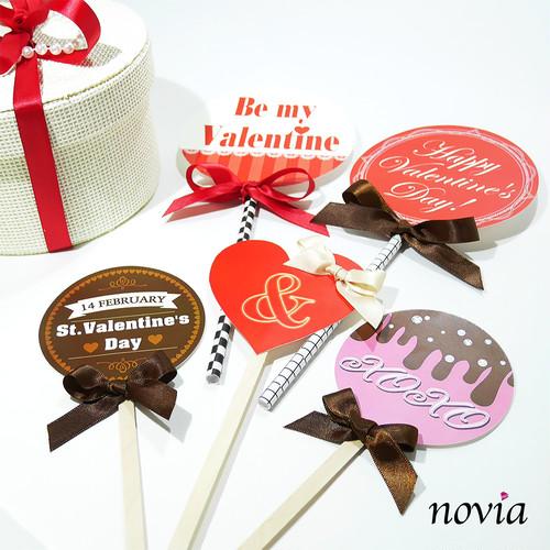 【バレンタイン フォトプロップス】全部にリボン付き!チョコレートにぴったり 大人可愛い《5本セット》