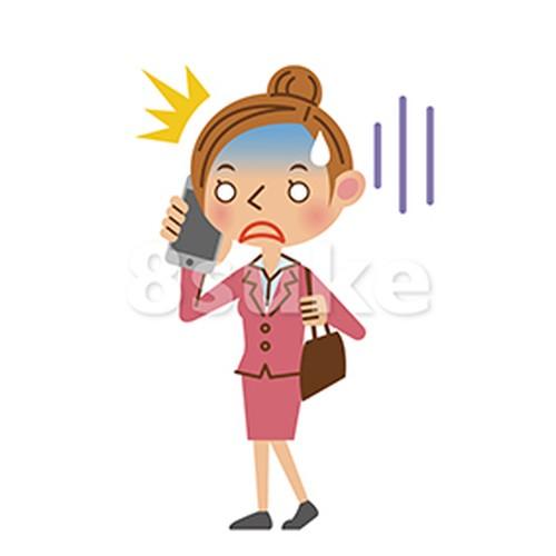 イラスト素材:スマートフォンで通話するビジネスウーマン/ショックを受けた表情(ベクター・JPG)