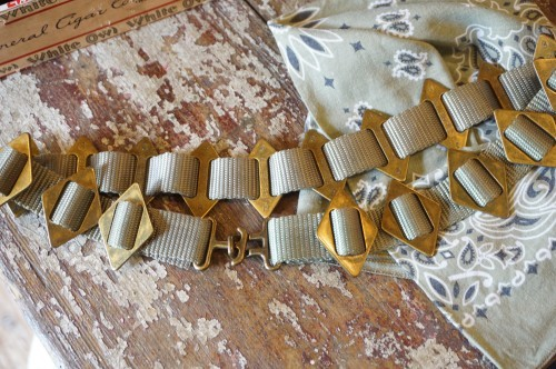 70's olive nylon Belt w/lots of brass buckles