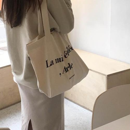 【送料無料】 シンプルなのにおしゃれ♡ メッセージ ロゴ 大容量 トートバッグ キャンバスバッグ ショルダーバッグ