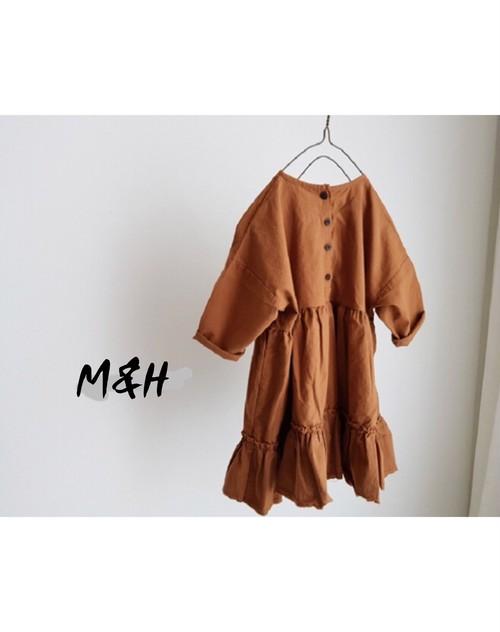 裾フレアーコットンワンピース/brown/white