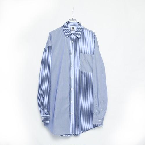 【GEN IZAWA】カッターシャツ/オーバーストライプシャツ(NAVY)