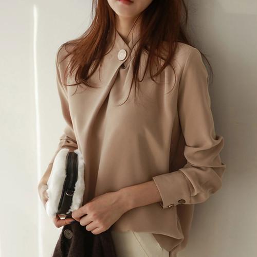 デザインブラウス S〜XL 3color ボタン 肌見せ 長袖 秋カラー♢♦︎大人気アイテム