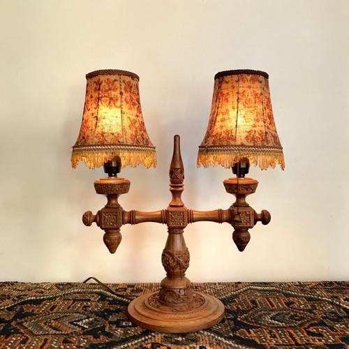 Carved Teakwood 2 Shade Table Lamp 70's Vintage
