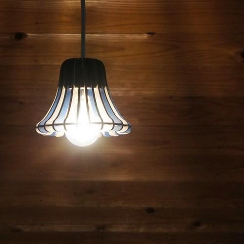 「ディナーベル」木製ペンダントライト(ネイビー)