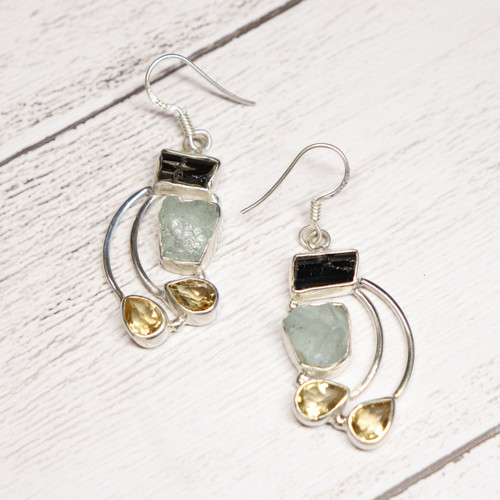 Gem Earrings(Black Spinel × Aquamarine × Citrine)