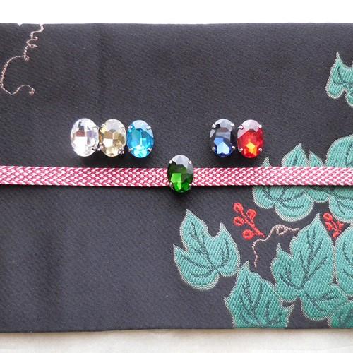 (2) 小さな小さな帯留め ガラスビジュー オーバル 和装小物 【レターパックライト可】