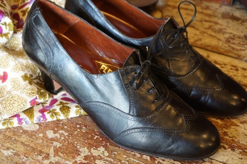 70's black heeled lace-up balmoral Shoes