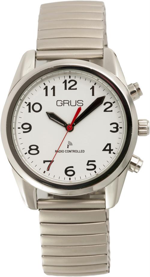 音声で時刻を知らせる ボイス電波腕時計 GRS003 伸縮ベルト