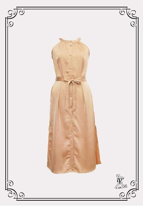 【完売御礼】Sleeveless Stain Dress / サテン サイドスリット ワンピース