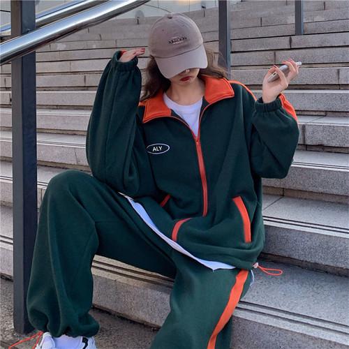 韓国ファッション フェアリー 長袖 可愛い ポチポラ 柔らか リラックス 今季大流行 2点スポーツウェアセット・セットアップ