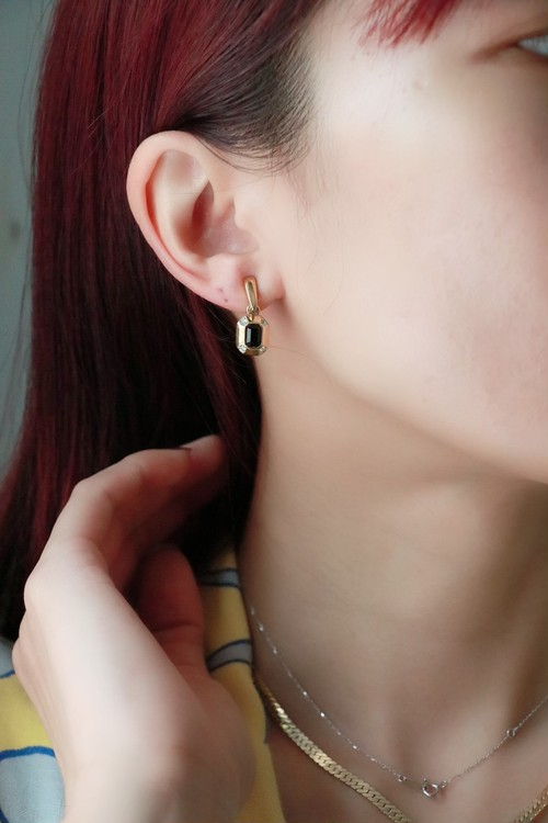 Givenchy black stone earrings