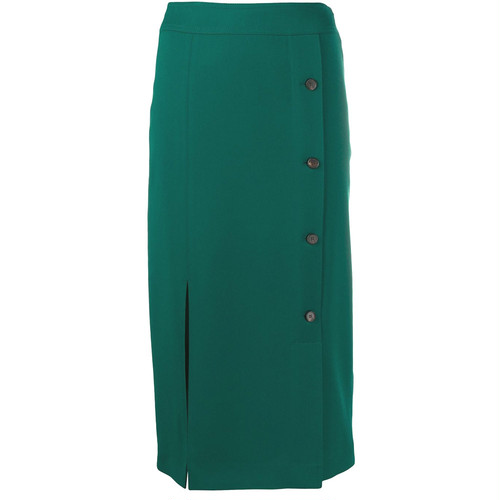VVB  BUTTON DETAIL RECYCLED POYESTER MIDI SKIRT