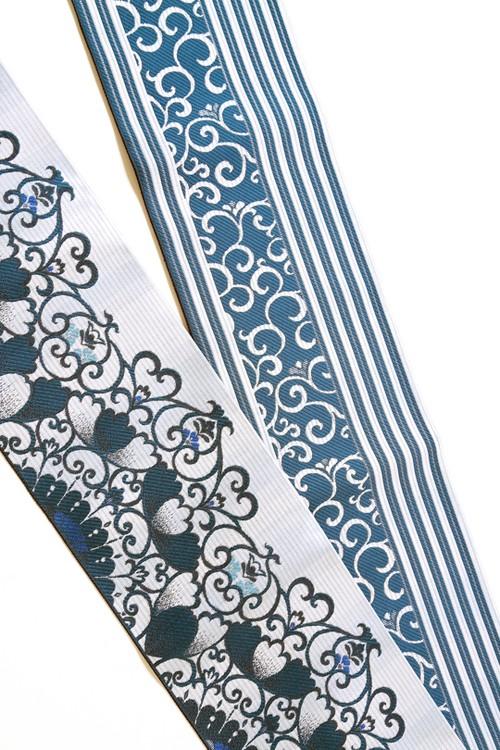 グラースオリジナル博多織小袋帯 アラベスク ブルー