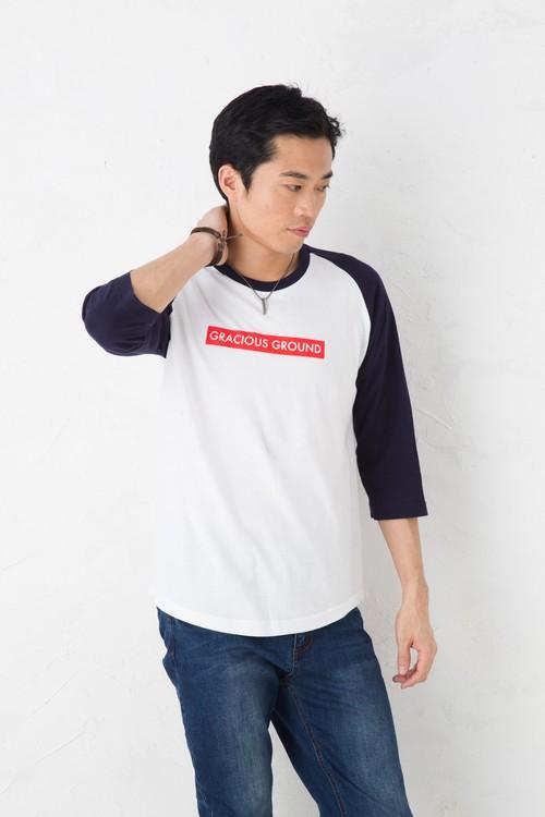 GRACIOUS GROUND ボックスックスロゴ プリント Tシャツ 7分袖  ネイビー/ホワイト