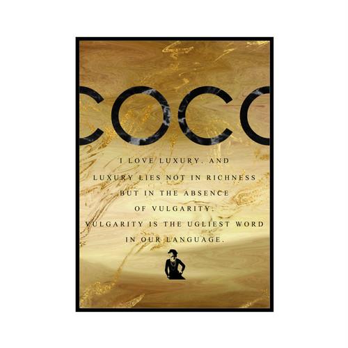 """COCO I LOVE LUXURY..."" Black&Gold marble - COCOシリーズ [SD-000598] A3サイズ ポスター単品"