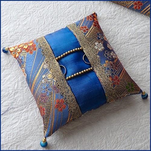 青い金蘭の和風リングピロー