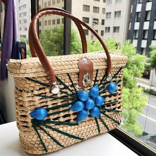 vintage blue flower スクエア カゴBAG