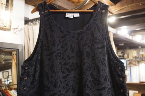 90's floral printed corduroy jumper Dress
