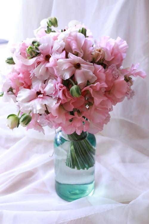 フラワーブーケ + ガラス花器 セット