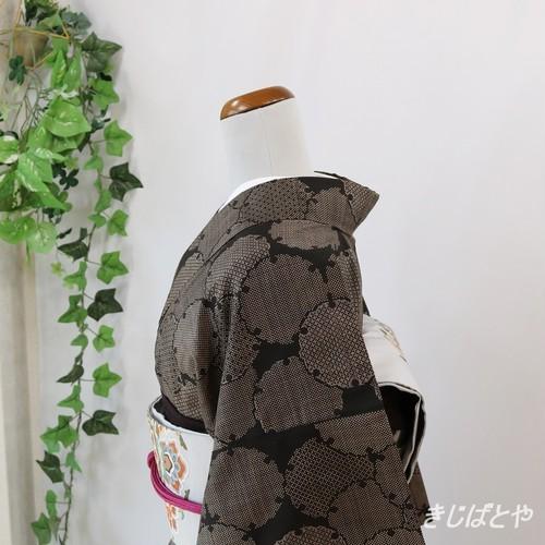 【M様ご予約品】大島紬 黒地に雪輪 袷