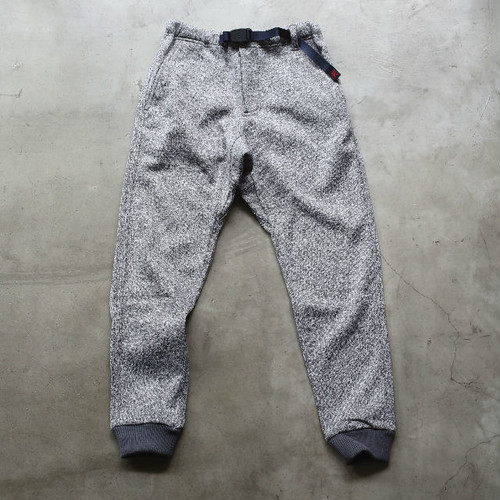 GRAMICCI BONDING KNIT FLEECE NARROW RIB PANTS GREY×NAVY