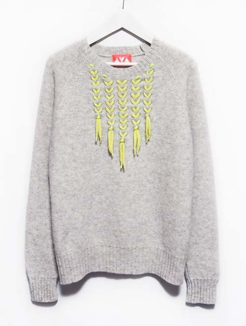 リメイク編み込みセーター