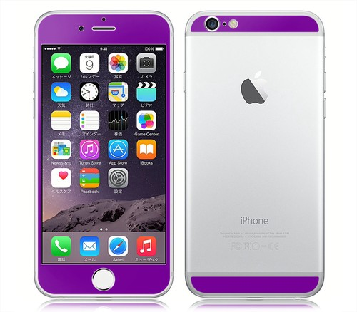 iPhone6、iPhone6Plus用 両面カスタムデザイン液晶フィルムシール(パープル)