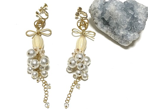 real flower earrings/pierce