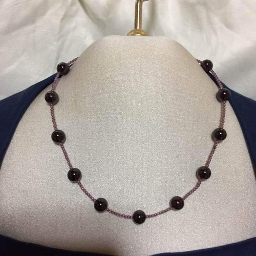 【ガーネット】大粒 天然石 丸珠 デザイン ネックレス 留め具 シルバー 未使用