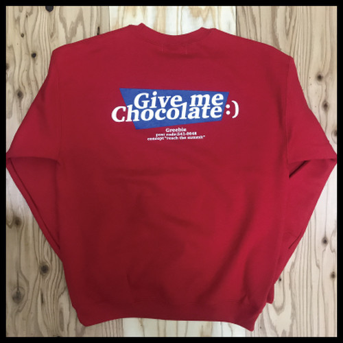 GIVE ME CHOCOLATE :) LOGO SWEAT【RED】