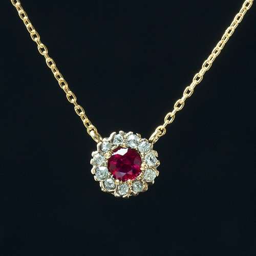 Ruby Diamond Flower Cluster Necklace