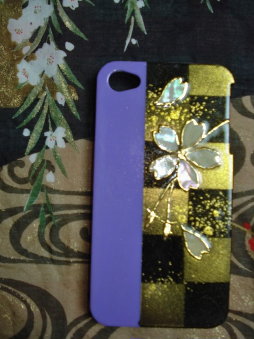 iphoneケース 市松螺鈿桜