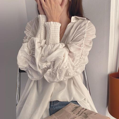 【送料無料】たっぷりギャザー ♡ きれいめ こなれ感 ボリューム袖 シャツ ブラウス トップス