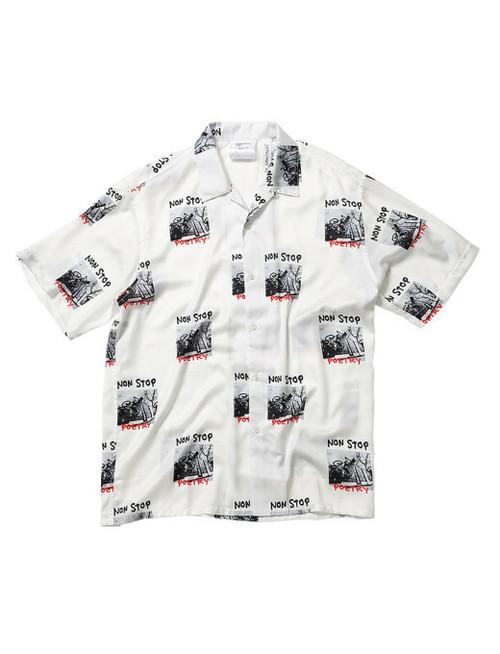 MARK GONZALES (マークゴンザレス) NON STOP POETRY 総柄オープンカラーシャツ 2G8-4900 ホワイト