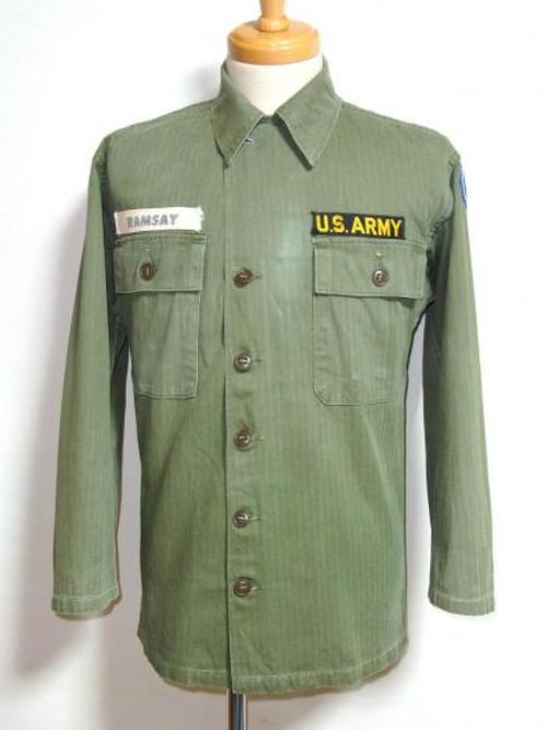 1950's U.S.ARMY M-47 HBTシャツジャケット 実寸(S-M) ヘリンボーン
