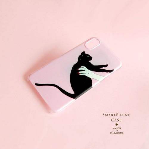 【スマホハードケース】黒猫のパウダーピンクのスマホケースiPhone Xperia AQUOS Galaxy etc 多機種対応