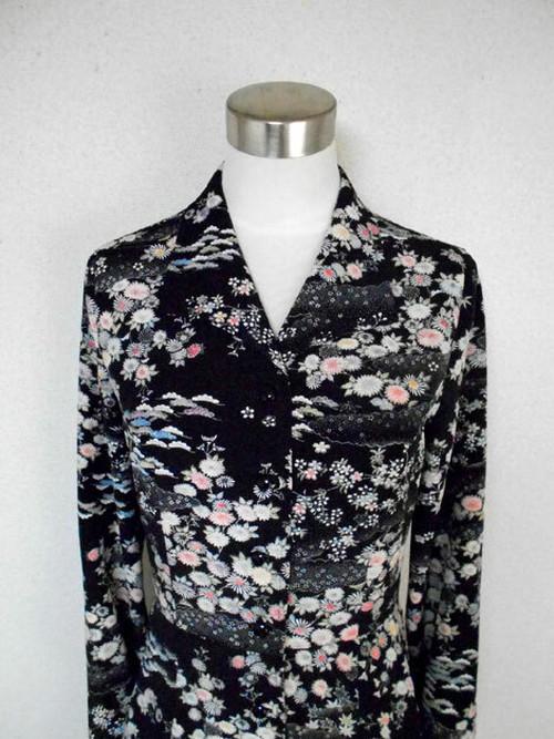 レトロ小紋のオープンカラーワンピース Open collar Shirt dress LO-174/M