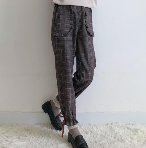 【送料無料】ガーリー好きに♡フリル&リボン付きグレンチェックパンツ
