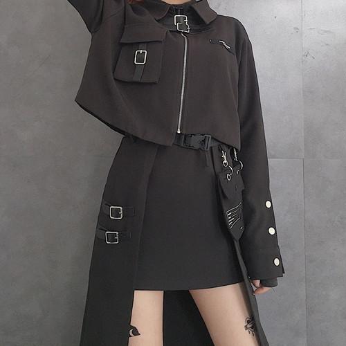 ゴスロリ ショートジャケット CRAZYGIRL オリジナルデザイン ZIPアップ ネックベルト 病みかわいい 黒 原宿系 10代 20代
