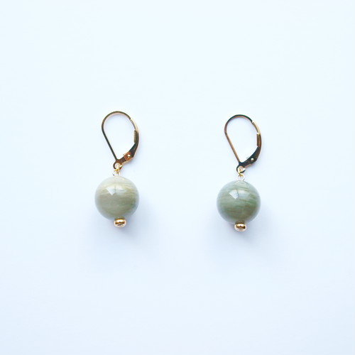 GLOBE Earrings | Green Lace Agate, 14KGF
