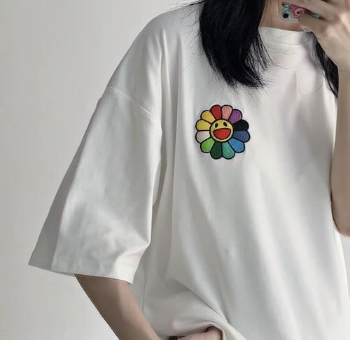 胸元のワンポイント♡ ゆるカワ オーバーサイズ  ワッペン Tシャツ トップス カジュアル シンプル